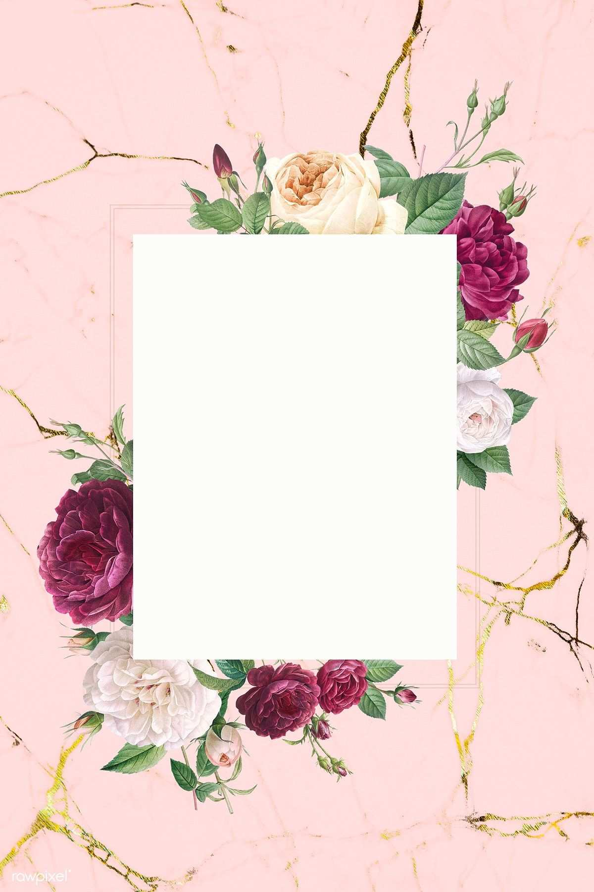 Download Premium Illustration Of Rectangular Frame Decorated With Roses Floral Poster Flower Background Wallpaper Rose Frame