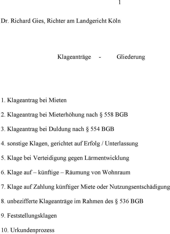 7 Klage Auf Zahlung Kunftiger Miete Oder Nutzungsentschadigung Pdf Free Download