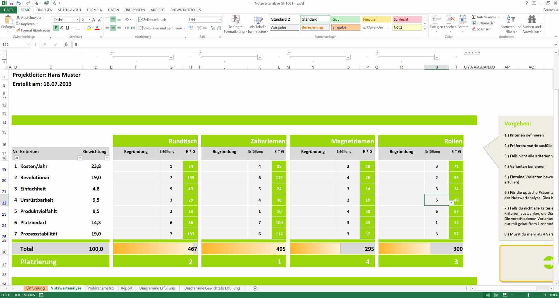 Nutzwertanalyse Excel Vorlagen Nwa Praferenzmatrix Muster Vorlage Meinevorlagen Com