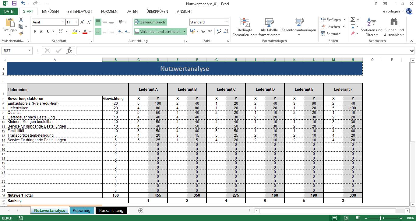 Nutzwertanalyse Projektmanagement