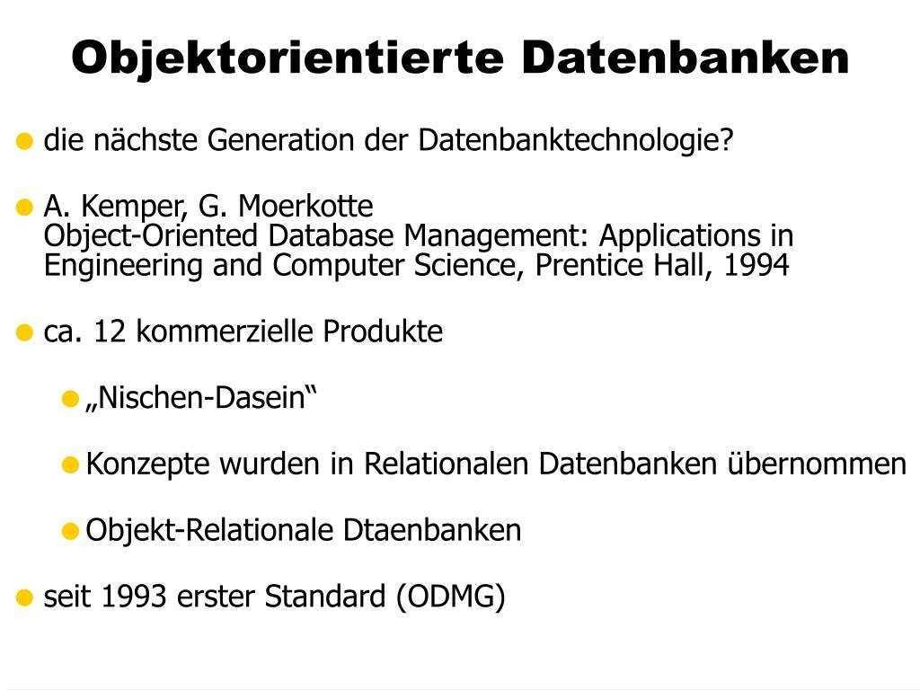 Ppt Objektorientierte Datenbanken Powerpoint Presentation Free Download Id 366007
