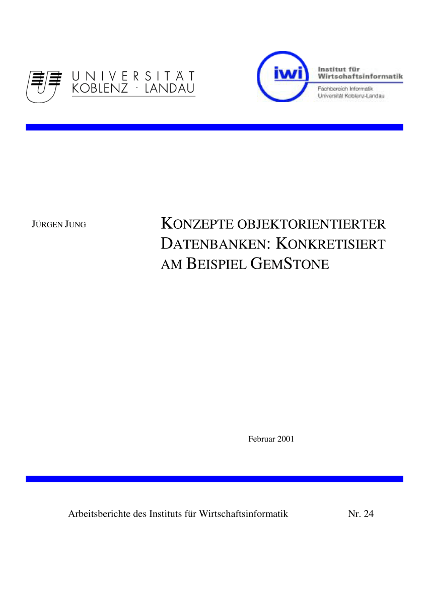 Pdf Konzepte Objektorientierter Datenbanken Konkretisiert Am Beispiel Gemstone