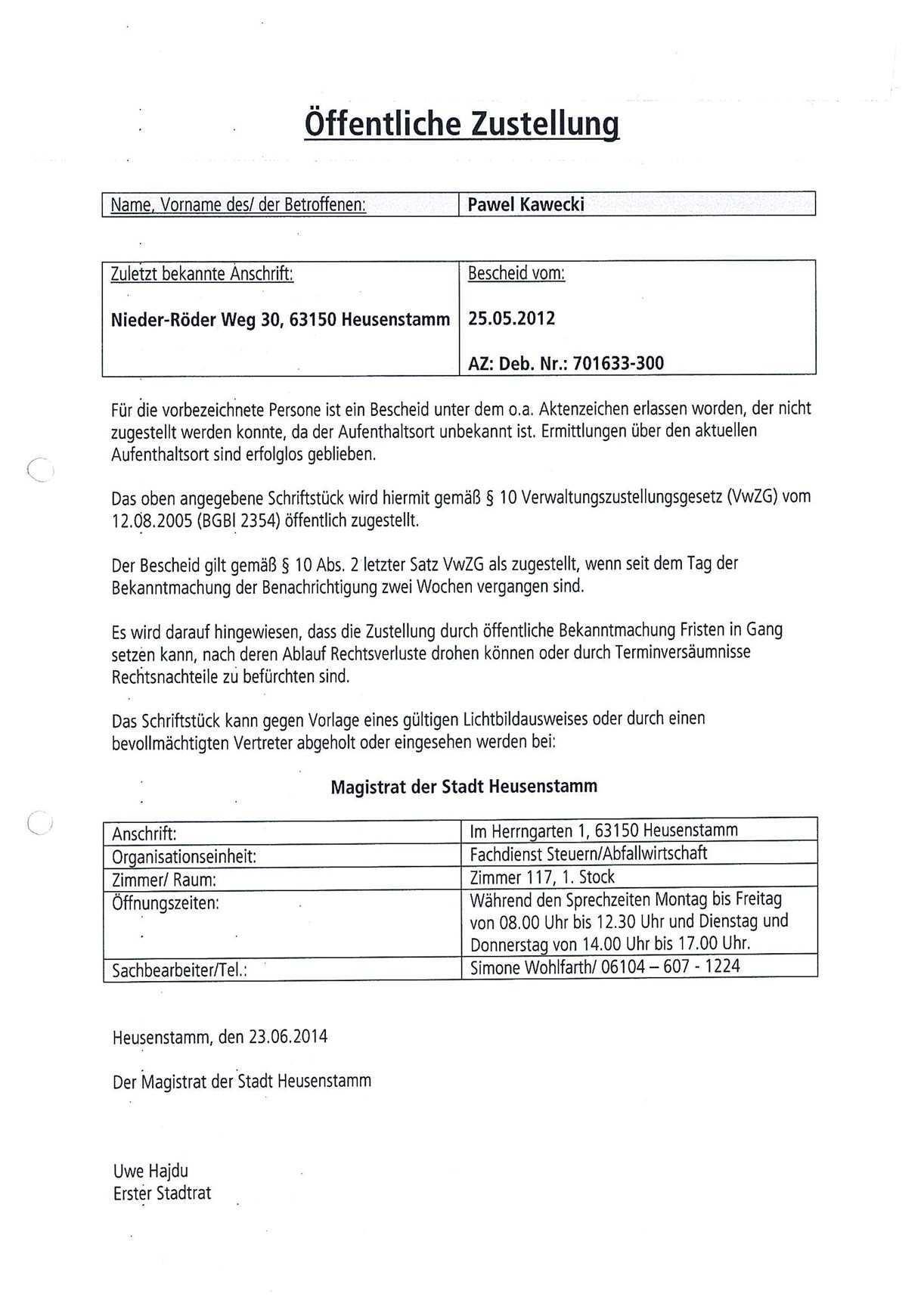 Offentliche Bekanntmachungen Stadt Heusenstamm