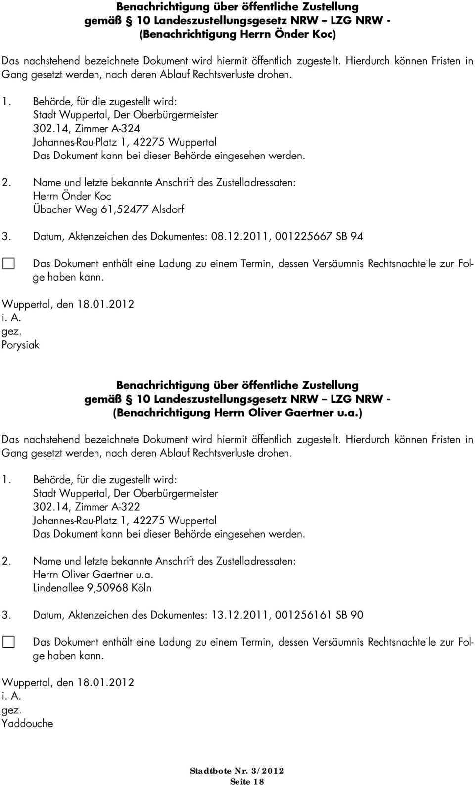 Offentliche Bekanntmachungen Der Stadt Wuppertal Pdf Free Download