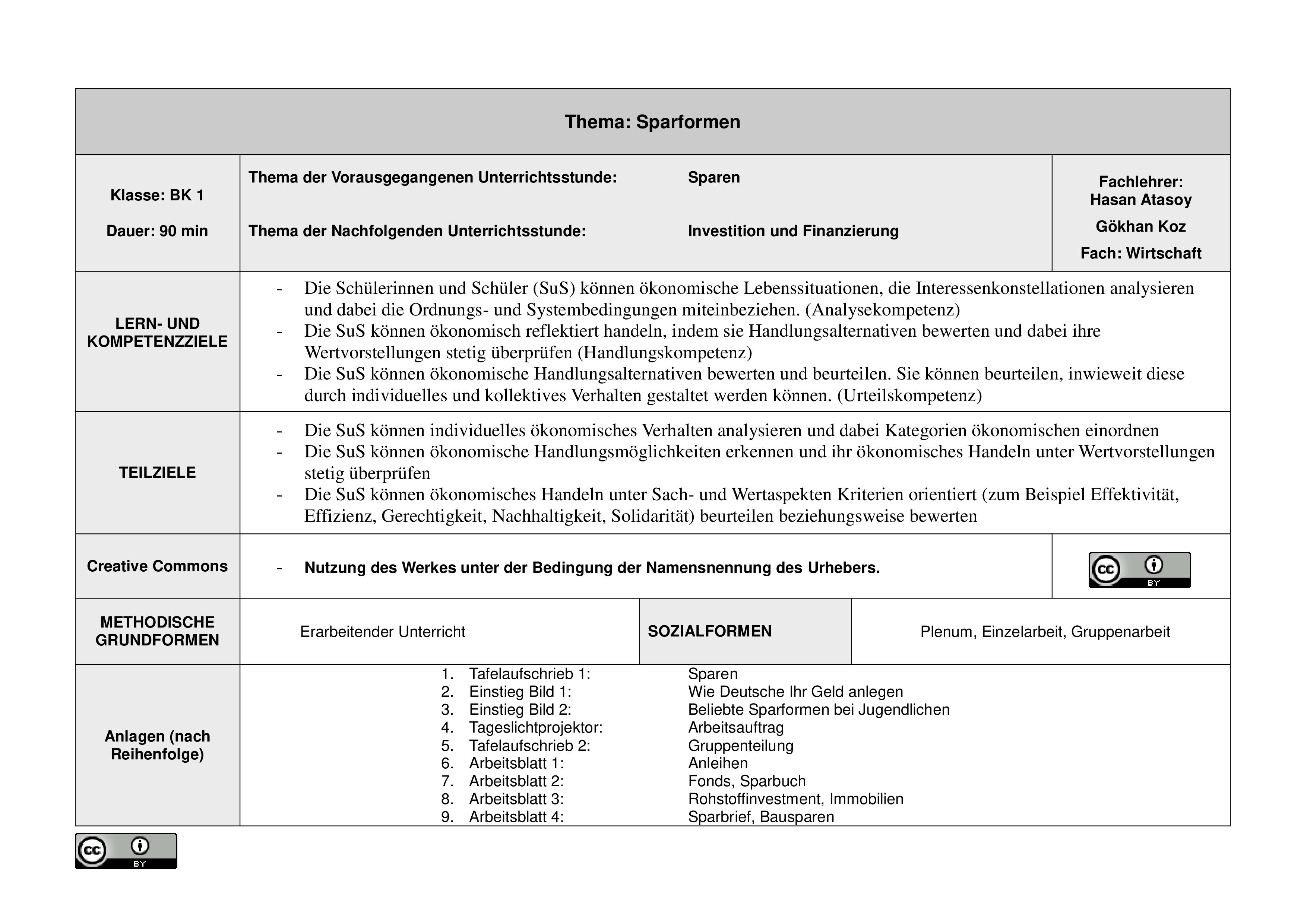 Sparformen Unterrichtsmaterial Im Fach Wirtschaft Unterrichtsmaterial Berufskolleg Wirtschaft