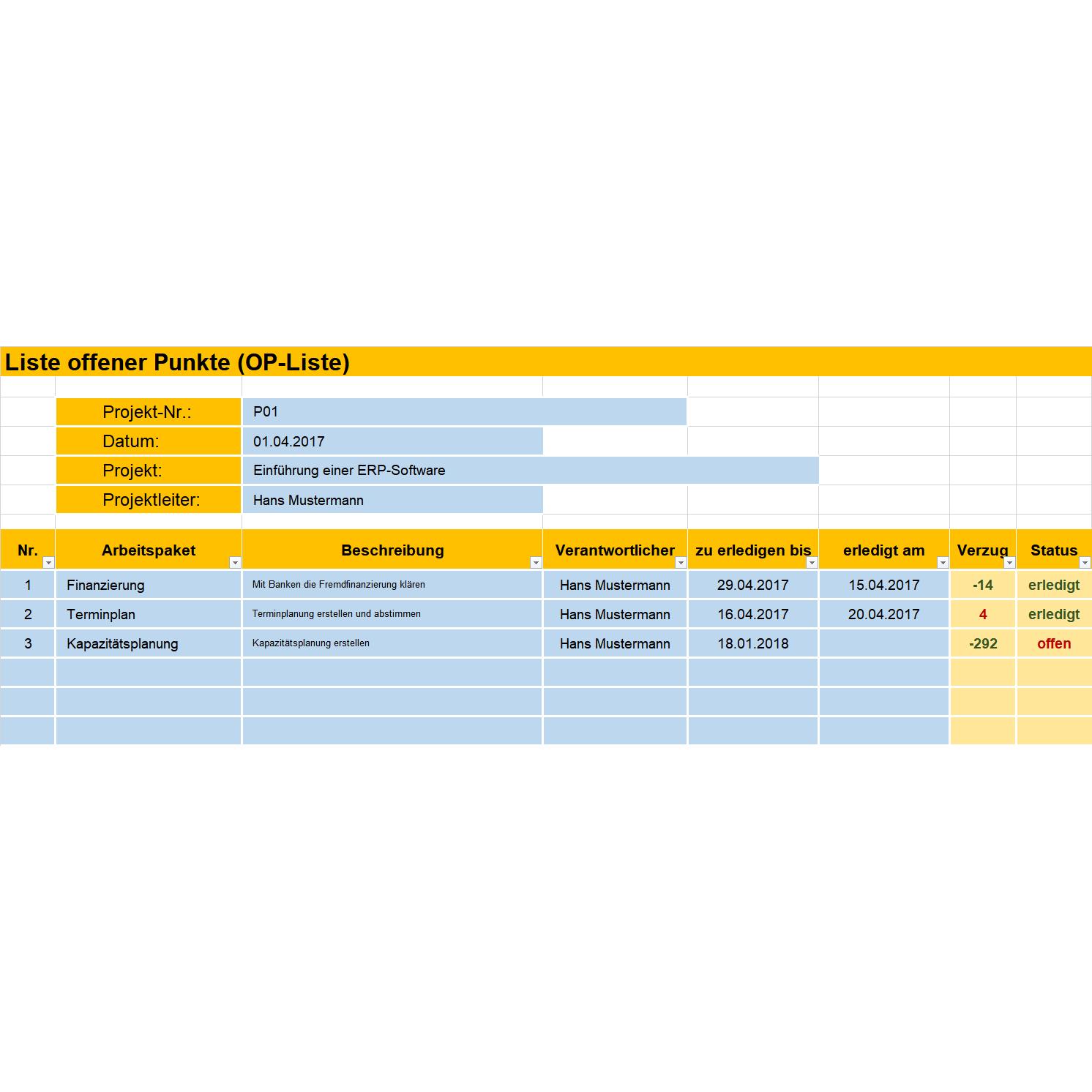 Offene Punkte Liste Fur Das Projektmanagement Variante I Vorlage Business Wissen De