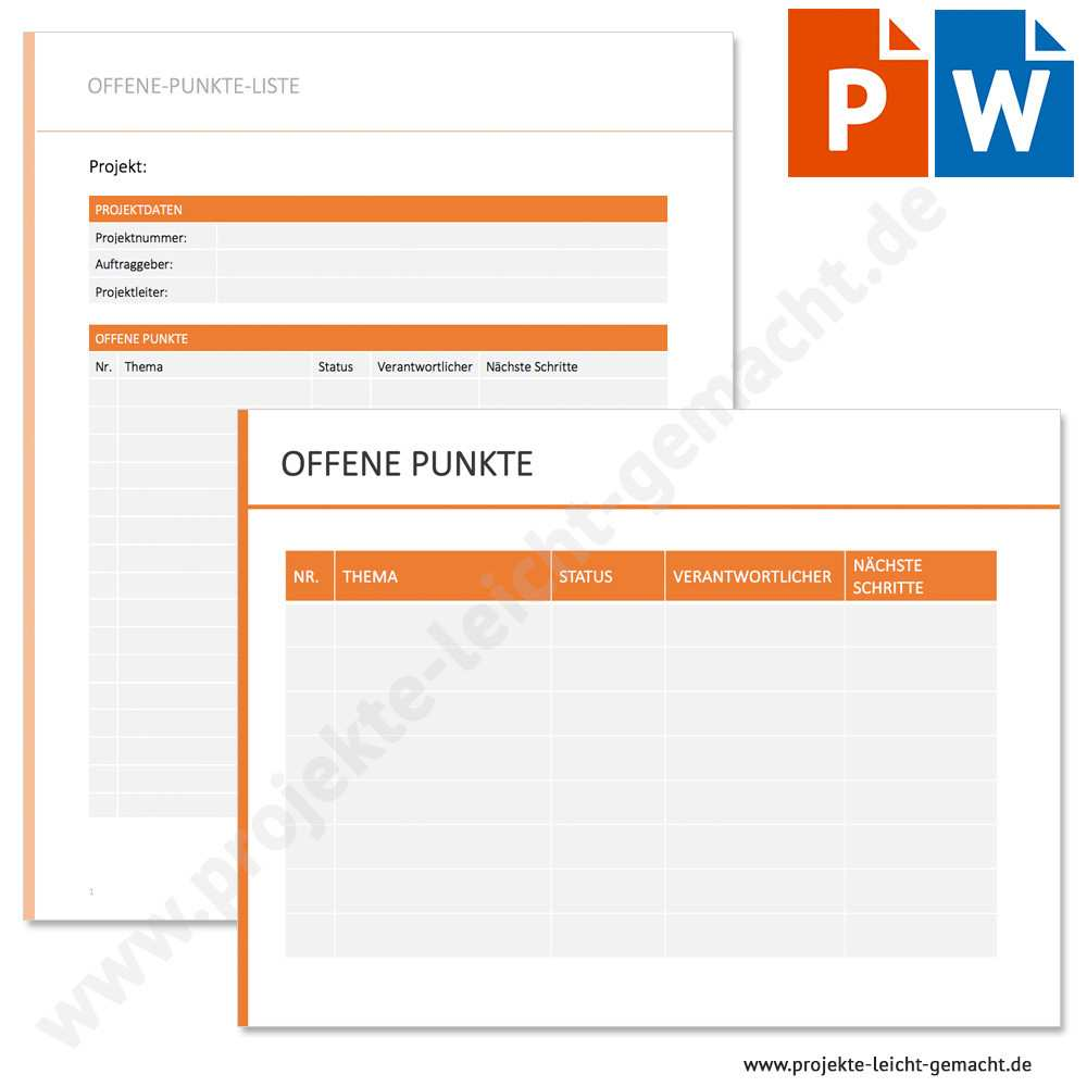 Vorlage Offene Punkte Liste Projekte Leicht Gemacht
