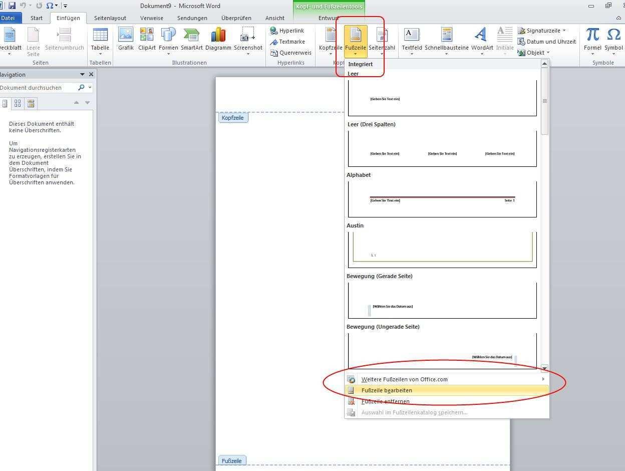 Word Dateinamen Und Speicherort Im Dokument Anzeigen