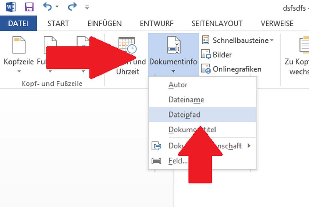 Ms Office Word Dateipfad Einfugen Chip