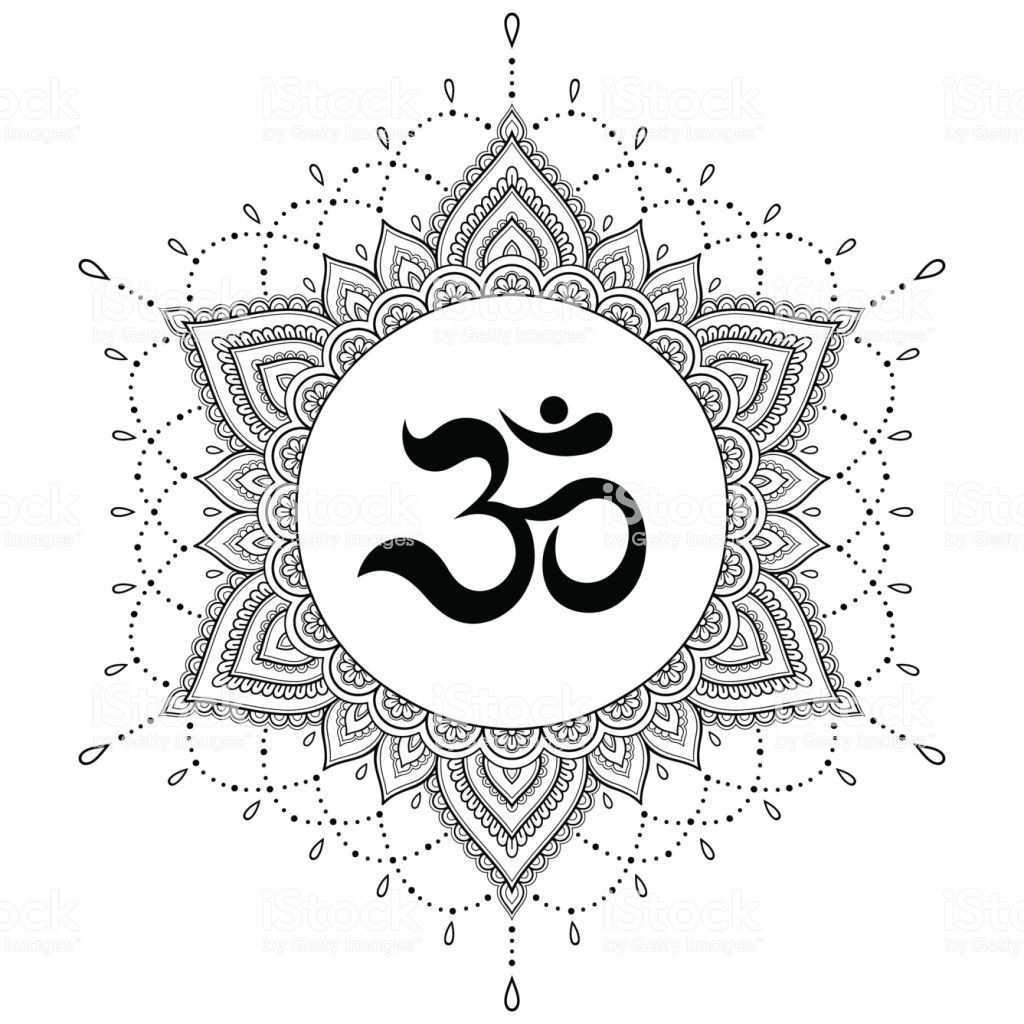 Kreismuster In Form Eines Mandalas Dekorative Om Symbol Mehndi Stil Dekorative Muster Im Orientalischen Stil Mi Henna Tatowierung Kreismuster Namaste Symbol