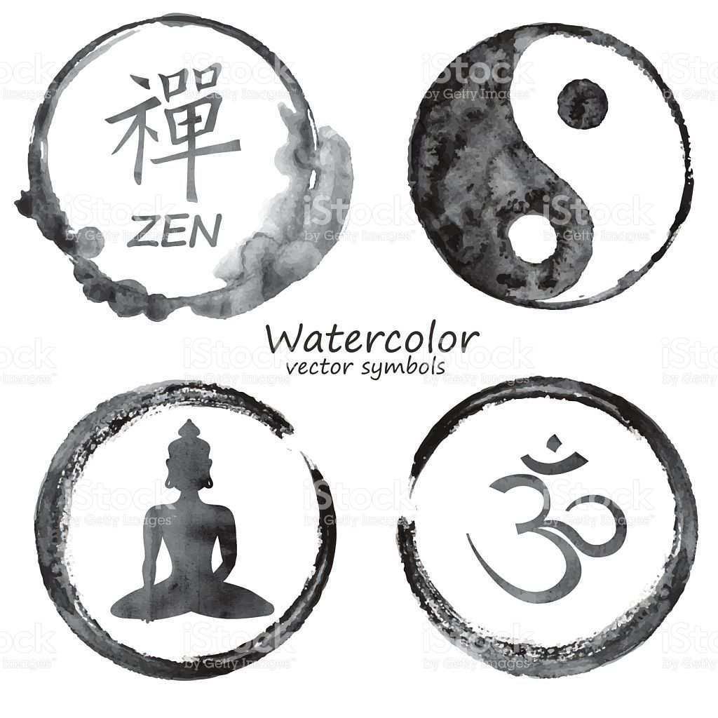 Vector Watercolor Set Of Yoga And Buddhism Label Icons Om Zen Buddhismus Symbole Yin Yang Tattoos Und Buddha Symbole
