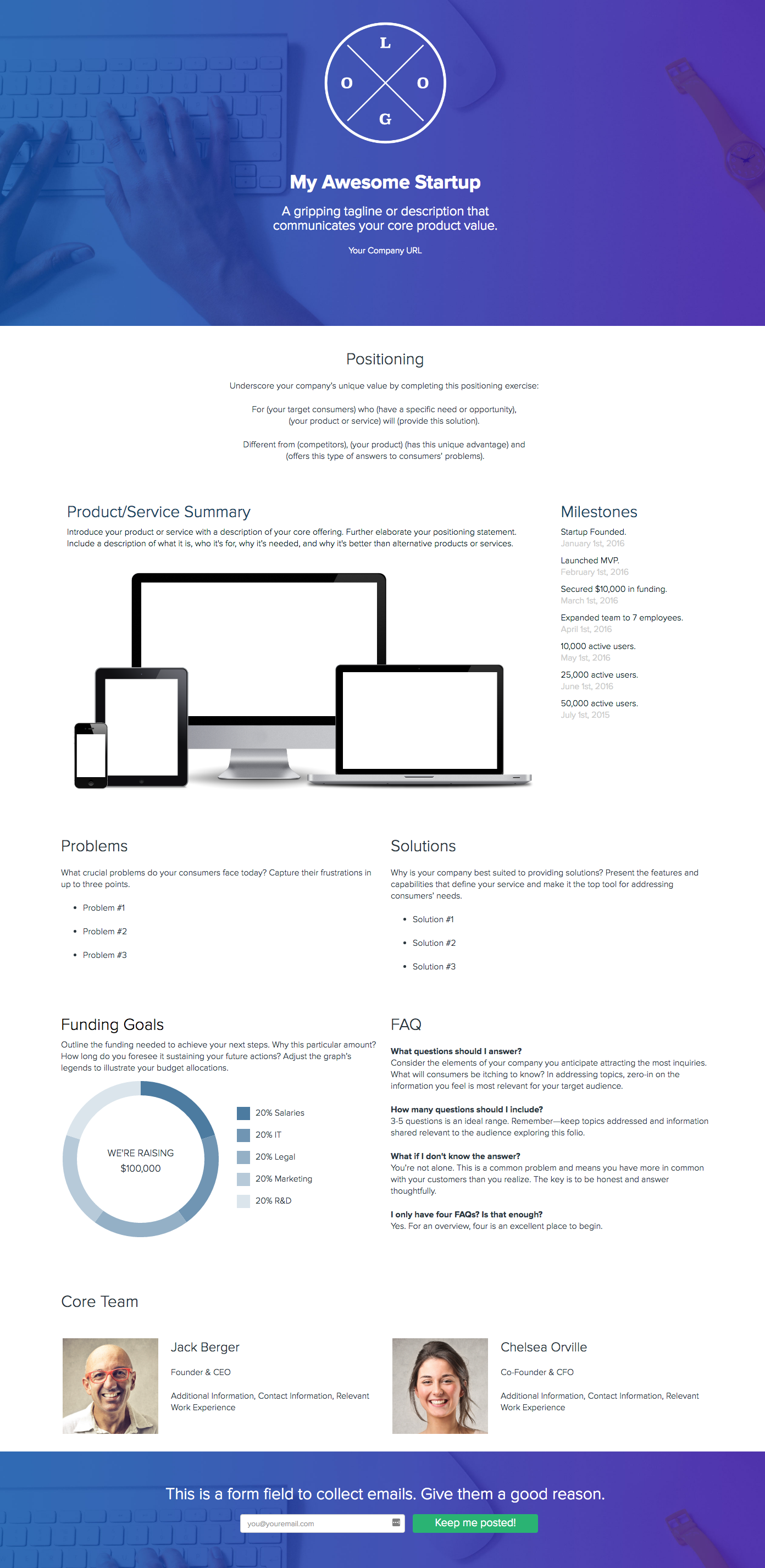 How To Create A Company One Pager Xtensio Create A Company One Pager Design Pagers