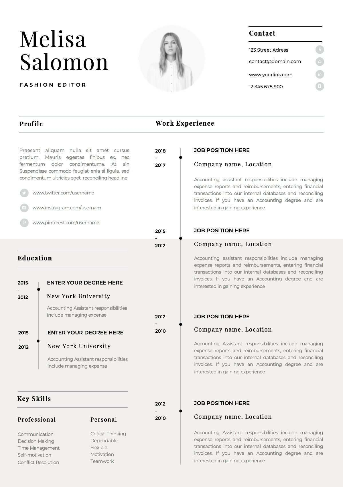 One Page Resume Template With Photo For Word Pages Cv Template With Photo Singe Page Professiona One Page Resume Template Cv Template Word Simple Cv Template