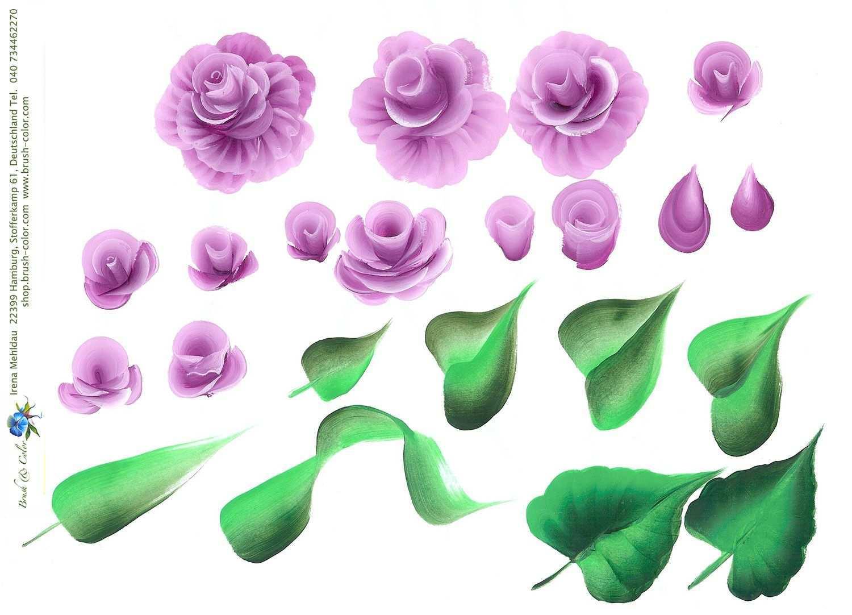 One Stroke Vorlagen Anleitungsbogen Wie Man Blumen Malt Blumen Zeichnen One Stroke