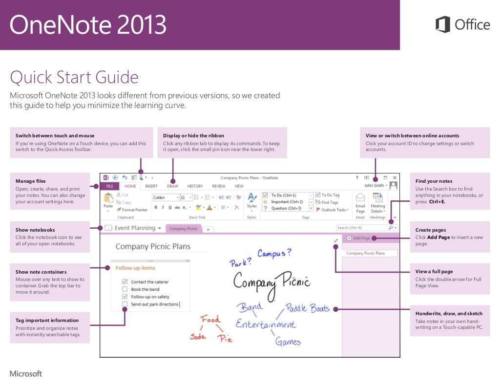 Onenote 2013 Quick Start Guide By Microsoft Education Uk Via Slideshare One Note Microsoft One Note Tips Microsoft