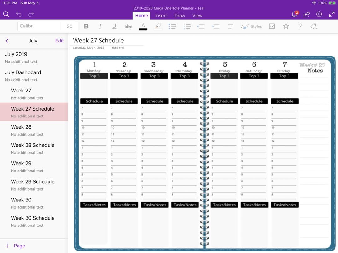 2019 2020 Mega Onenote Planner Teal Digital Planner The Awesome Planner Kalender