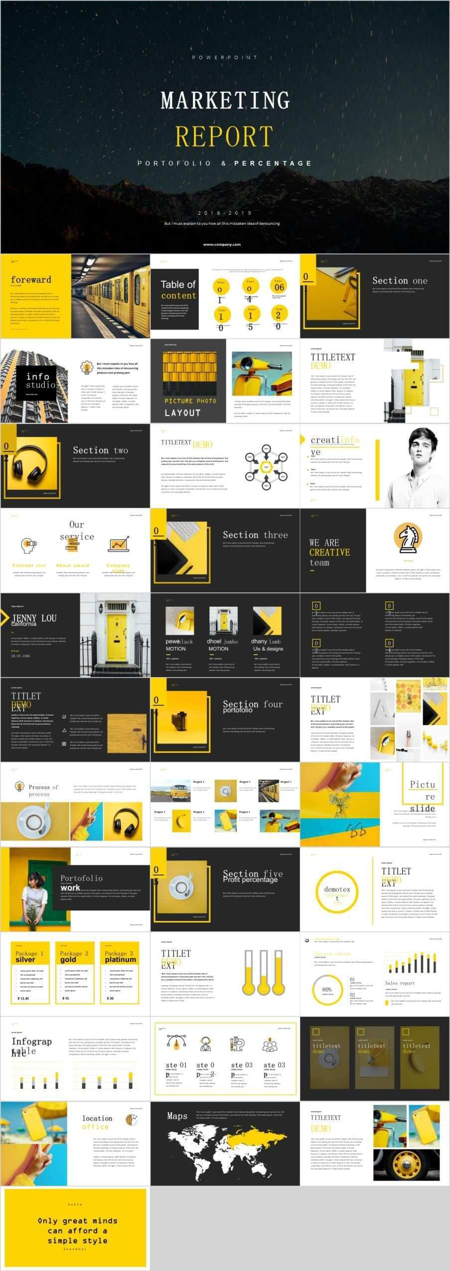 Yellow Market Report Powerpoint Template Powerpoint Templates Marketing Report Template Creative Powerpoint Templates