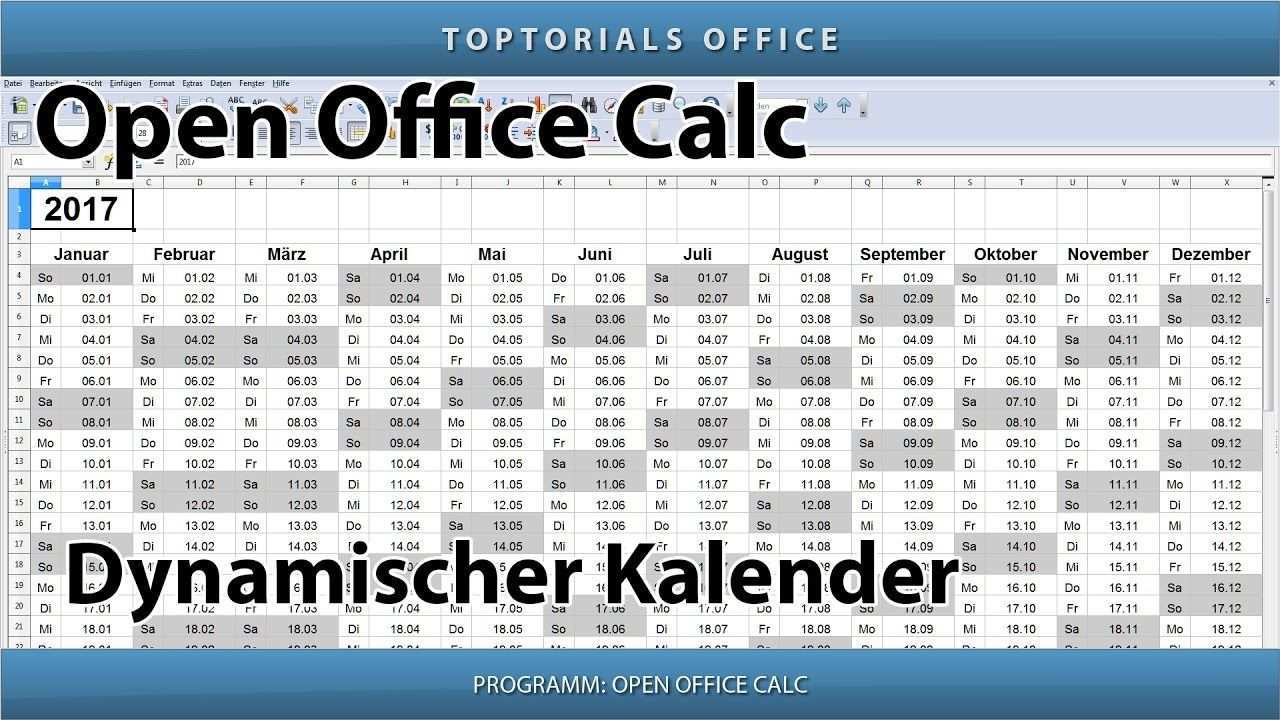 Dynamischen Kalender Erstellen Download Openoffice Calc Kalender Erstellen Tipps Und Tricks Jahresplaner