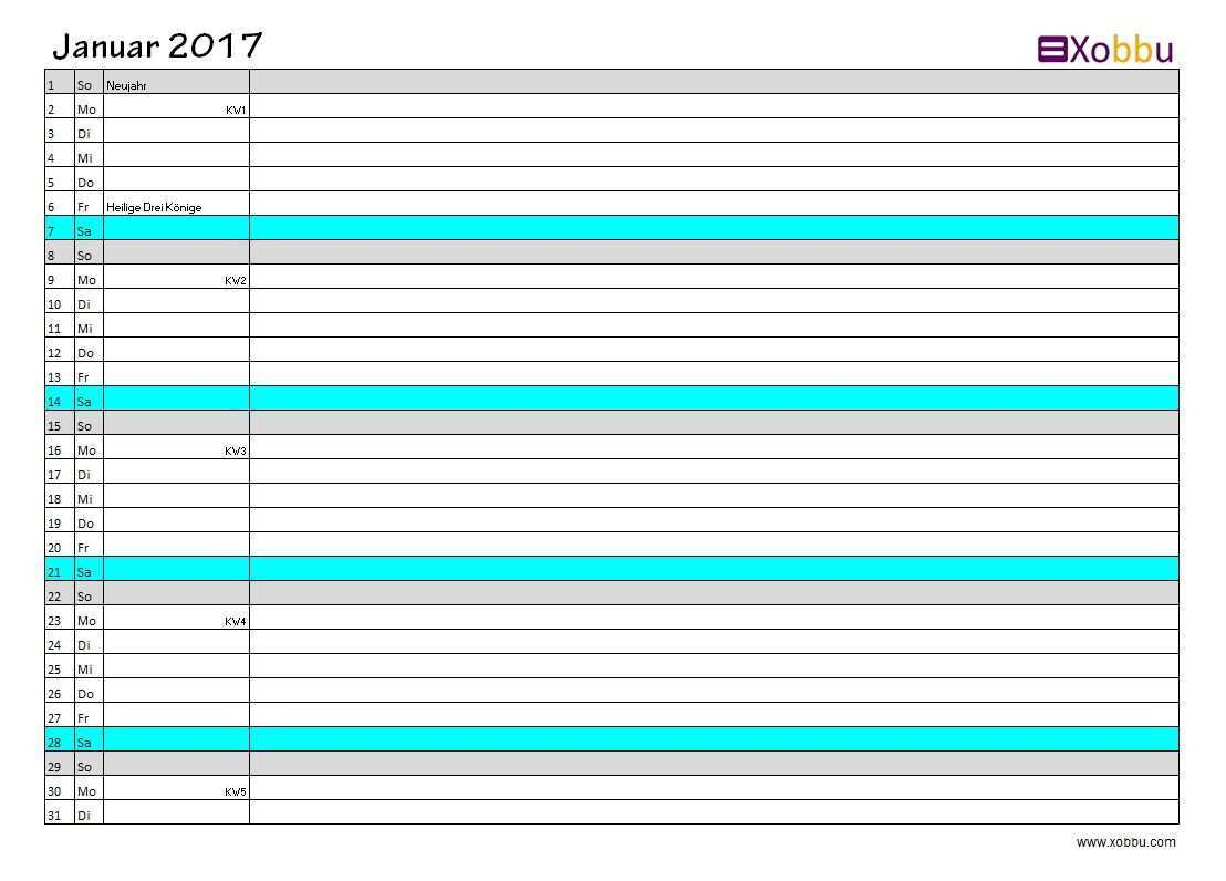 Kalenderubersicht Excel Pdf Vorlage Xobbu Printable Calendar Kalender 2017 Geburtstag Planner Todo Diy Organisa Kalender 2017 Vorlagen Excel Vorlage