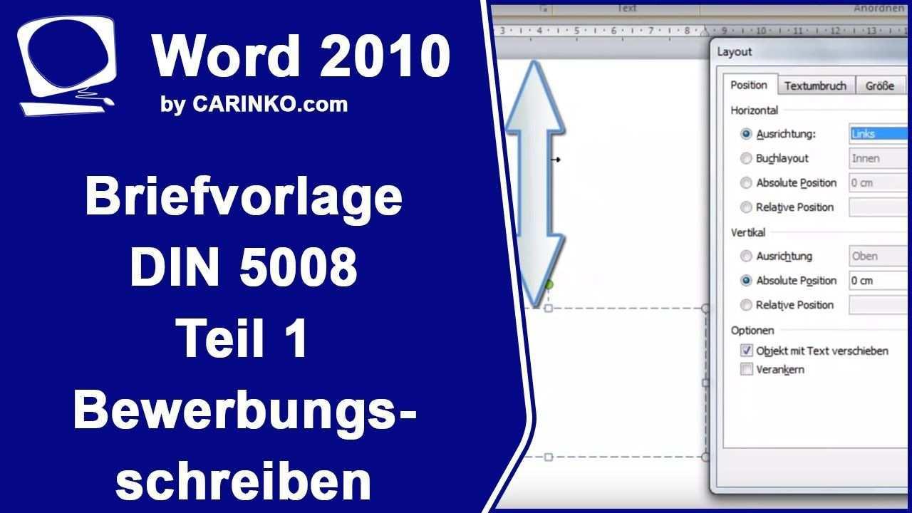 Erstellung Einer Briefvorlage Brief Din 5008 Teil 1 Bewerbungsschreiben Ms Word Carinko Com Youtube In 2020 Briefvorlagen Bewerbung Schreiben Bewerbungsschreiben