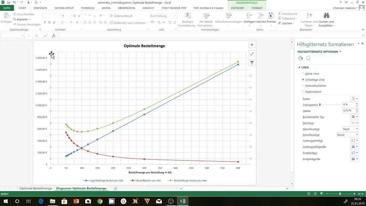 Ein Diagramm In Excel Erstellen Mehrliniendiagramm Am Beispiel Der Optimalen Bestellmenge Youtube