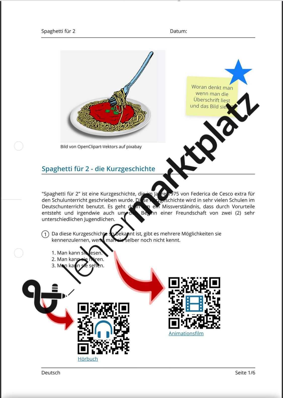 Spaghetti Fur 2 Qr Codes E Learning Schulunterricht W Fragen