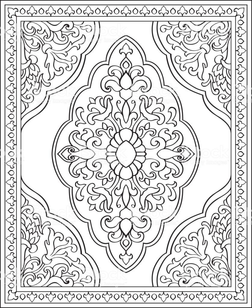 Oriental Abstract Ornament Template For Carpet Shawl Textile In 2020 Musterkunst Geometrisches Musterdesign Schablonen