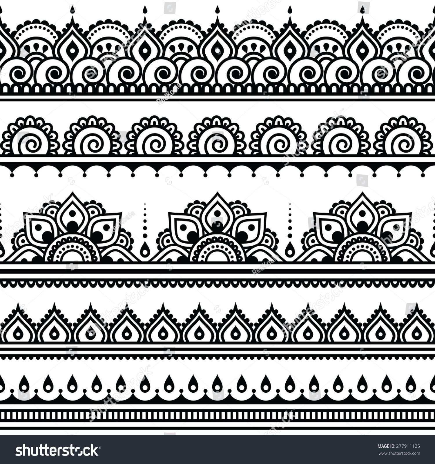 Mehndi Indian Henna Tattoo Seamless Pattern Design Elements Indisches Henna Tattoo Henna Mehndi