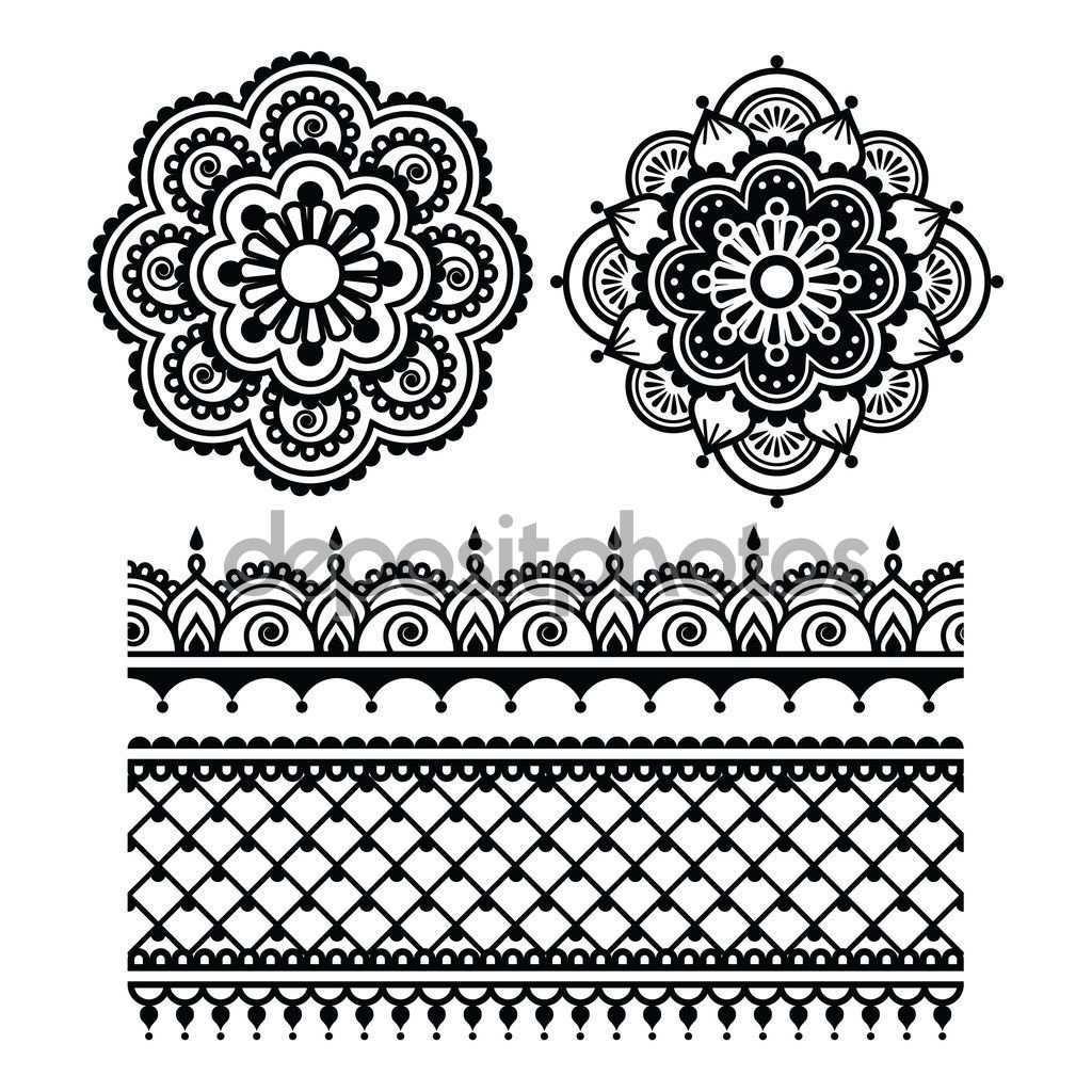 Vektor Disz Orient Hagyomanyos Stilusban Feher Tatueringar Monster Hennatatuering Henna