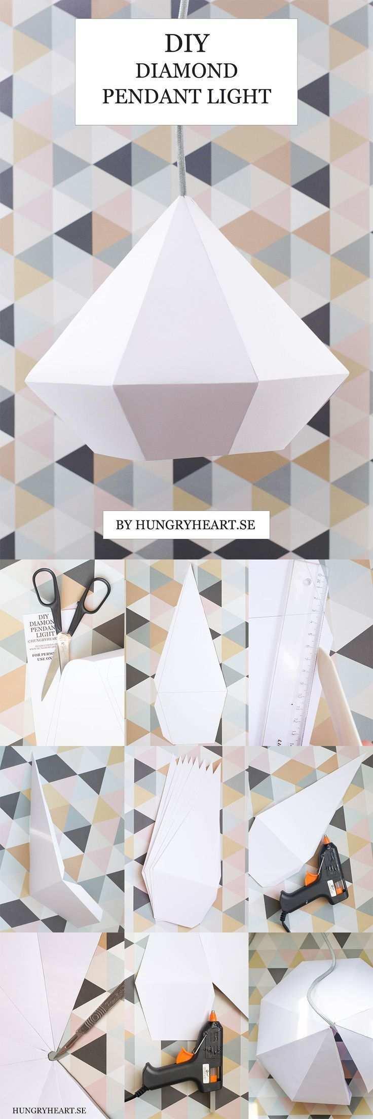 Diy Diamond Pendant Light With Free Template Origami Lampe Lumiere Suspendue Diy