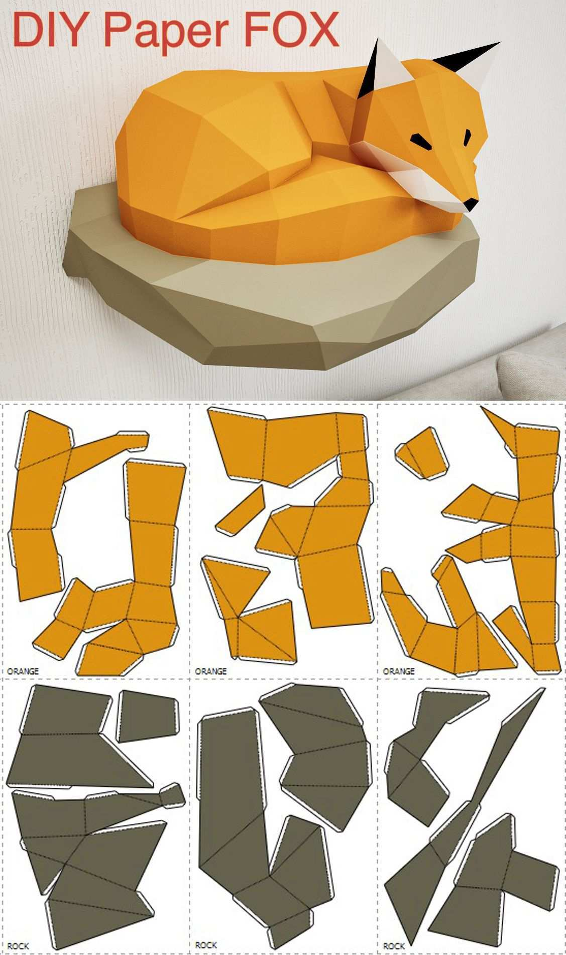 Papercraft Fox On Rock Paper Model 3d Paper Craft Paper Etsy Paper Animals 3d Paper Crafts Paper Crafts