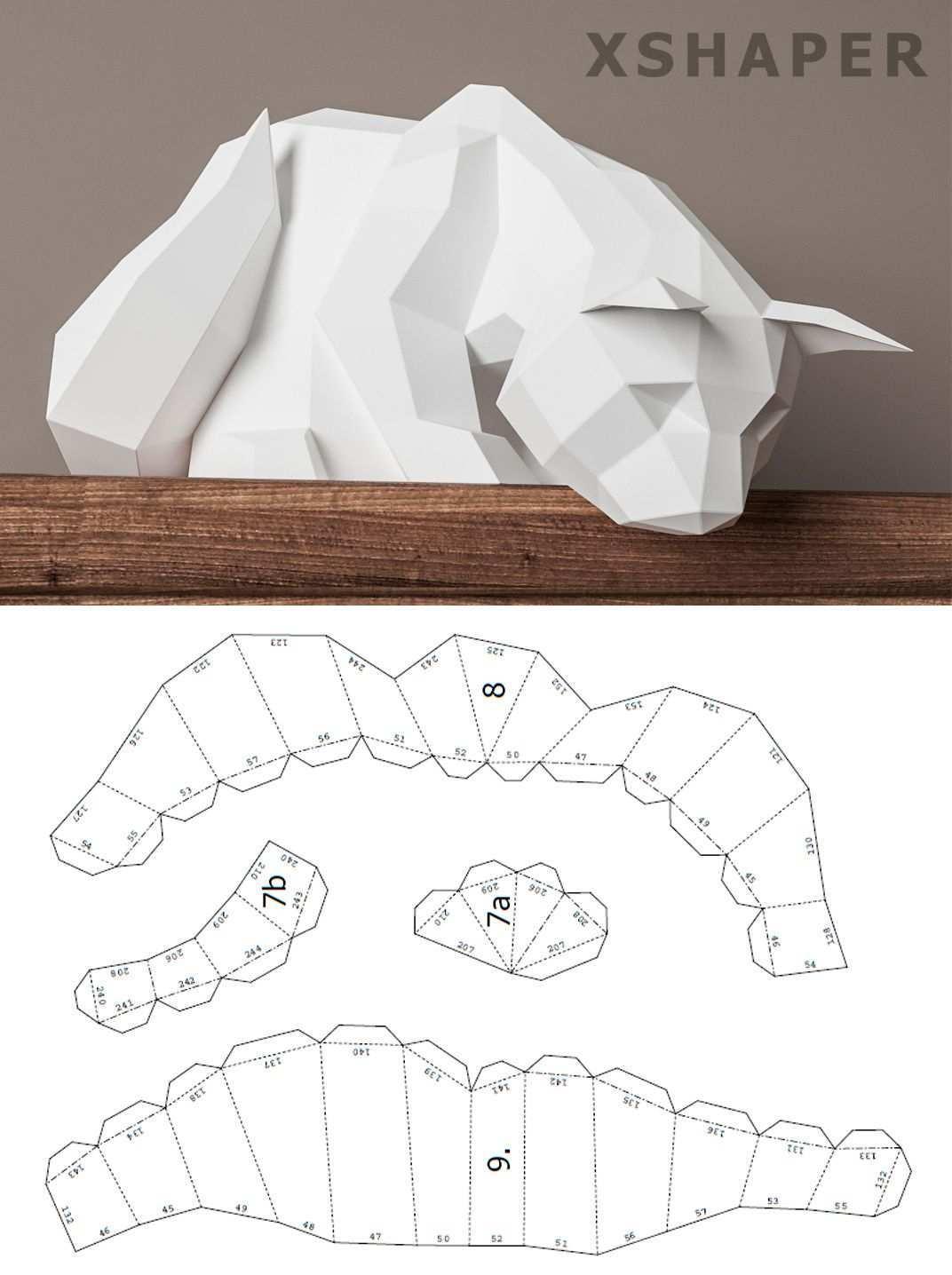 Papercraft Cat 3d Origami Pdf Template Animal Pet Paper Etsy Paper Crafts Diy Tutorials Origami Easy Paper Crafts