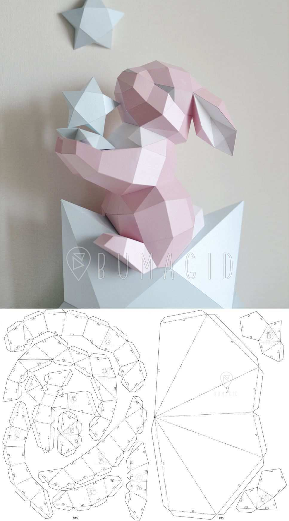 Pdf Template Bunny On A Star Low Poly Fawn Model Origami Papercraft Pepakura 3d Paper Paper Crafts Origami Paper Crafts Diy Origami Crafts