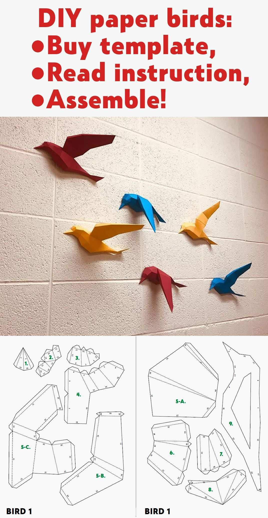 3d Papercraft Birds On Wall Diy Paper Model Sculpture Etsy In 2020 Paper Crafts Paper Crafts Origami Crafts