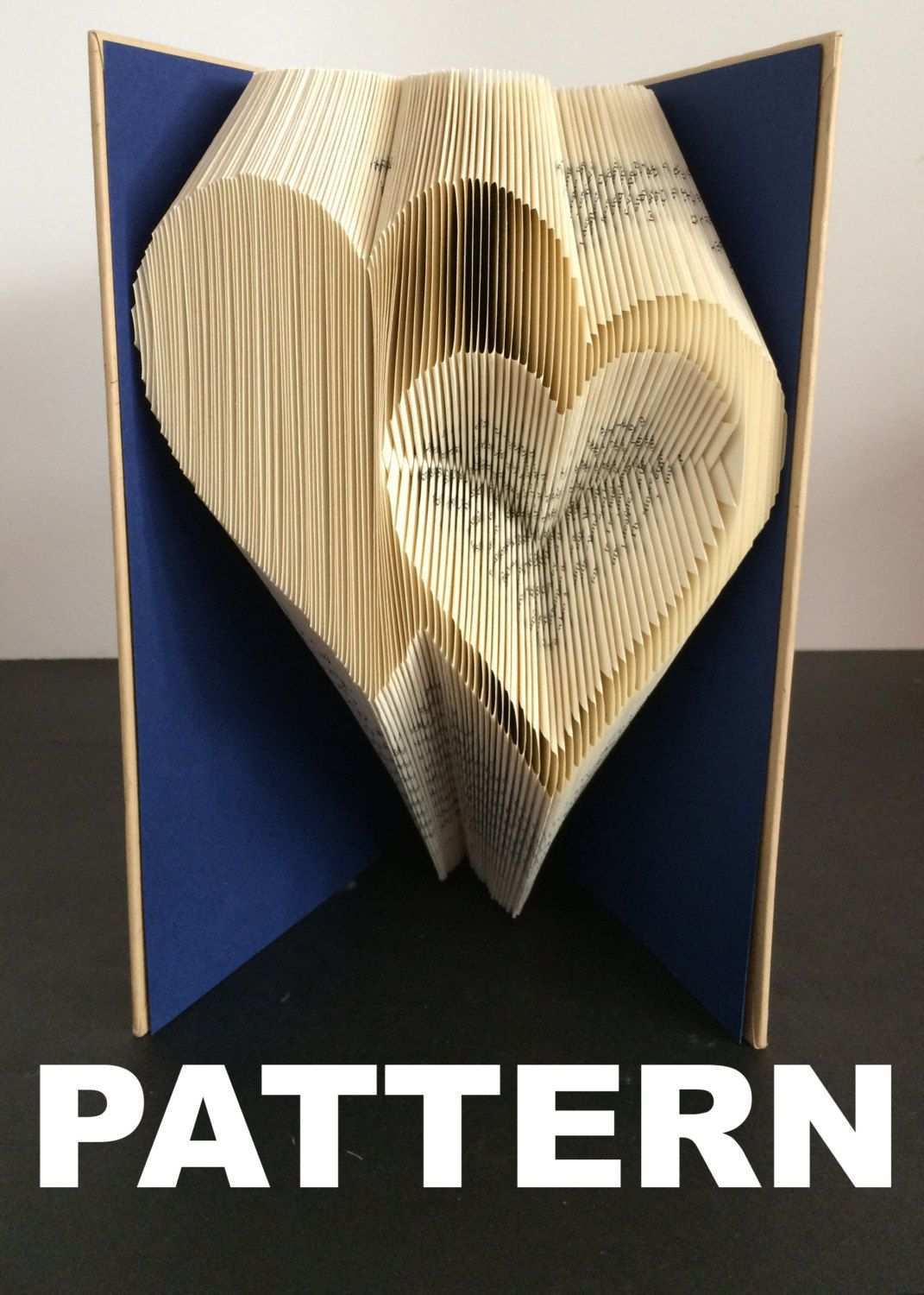 Book Folding Pattern Double Hearts Free Instructions With Pictures Book Page Crafts Book Folding Book Folding Patterns