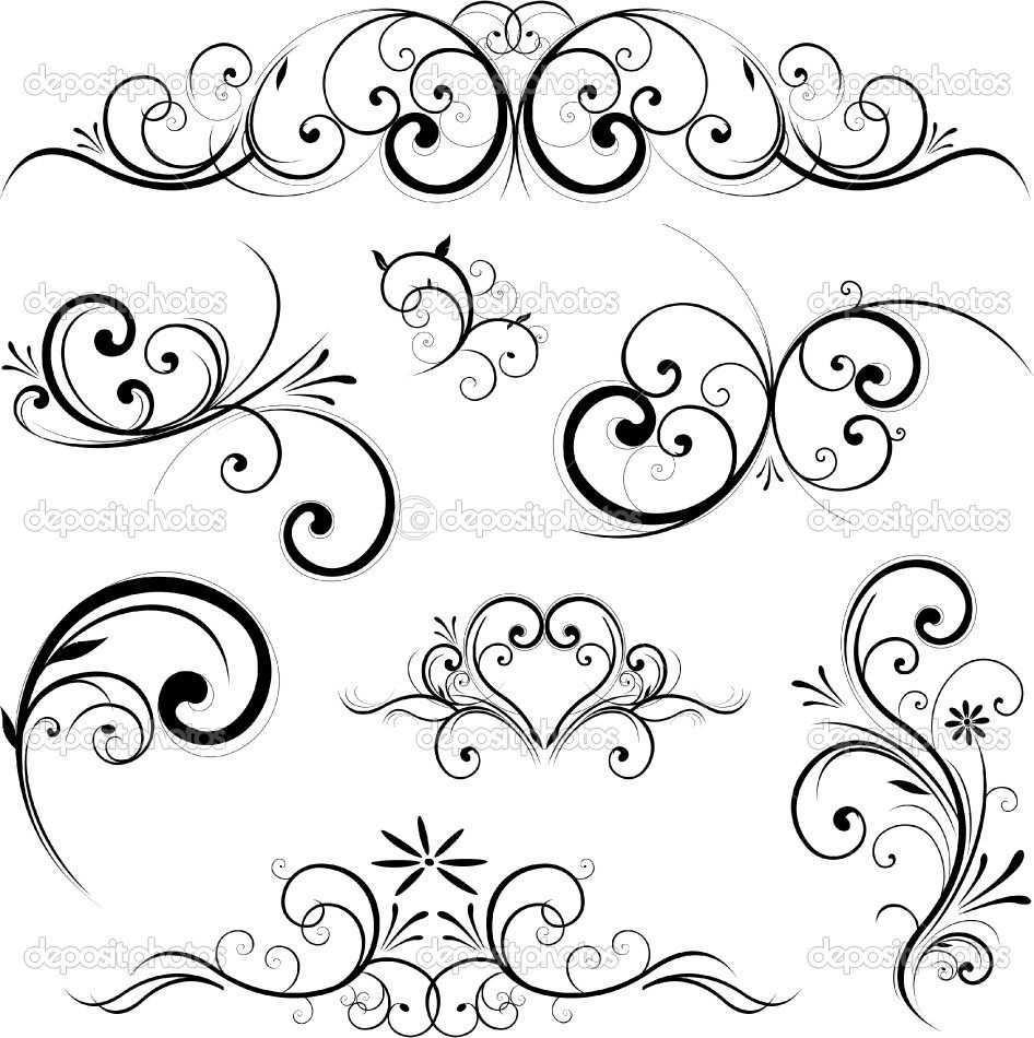 Vector Scroll Ornament Ornamente Vorlagen Muster Malen Ornamente