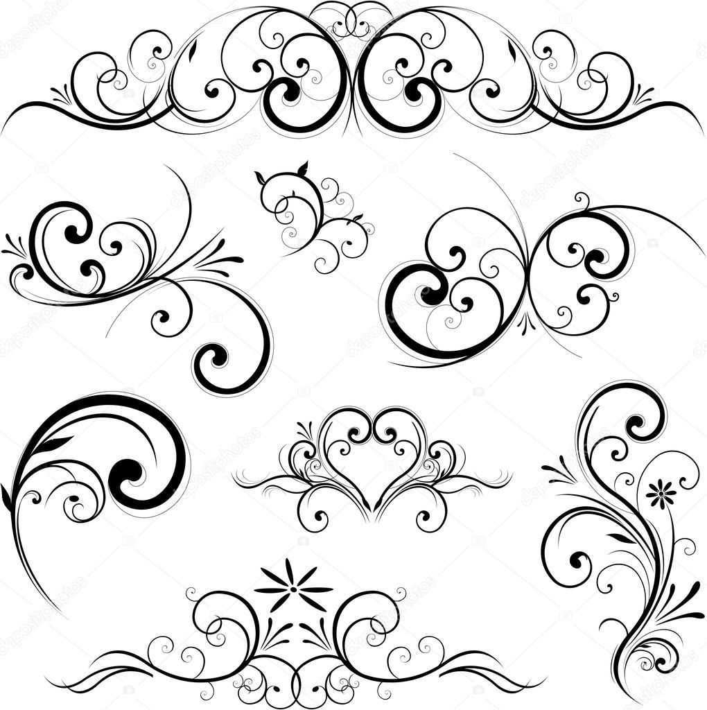 Vector Scroll Ornament Ornamente Vorlagen Muster Tattoos Zeichenvorlagen