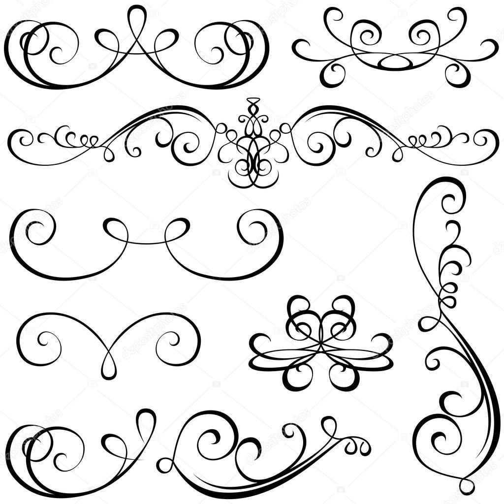 Kalligraphische Elemente Schwarz Design Elemente Vektor Mandala Zum Ausdrucken Ornamente Vorlagen Ausdrucken