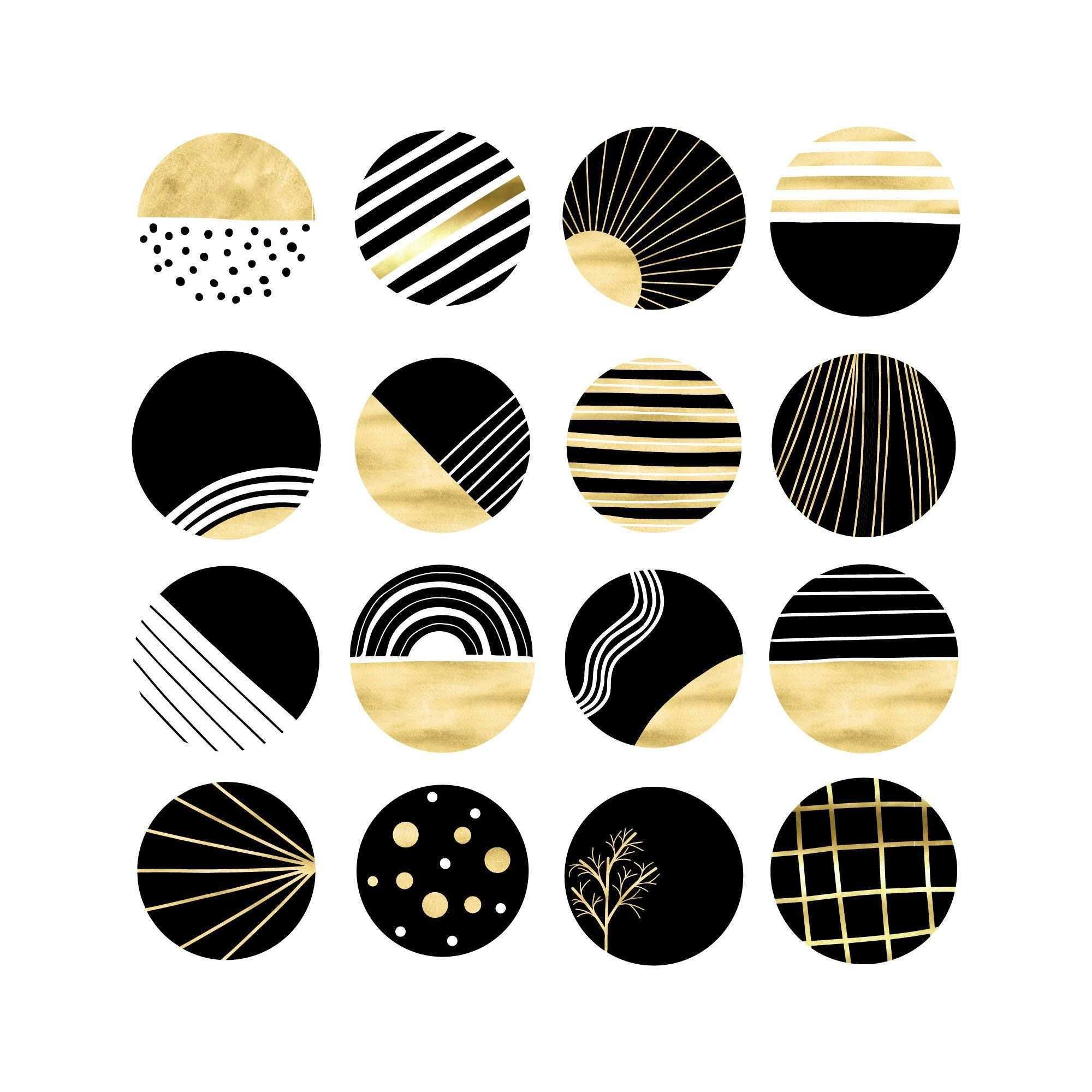 Gold Instagram Story Highlight Icons Black Pattern Circle Clipart Blog Branding Kit Modern Minimalist Geometr Blog Branding Kit Story Highlights Circle Clipart
