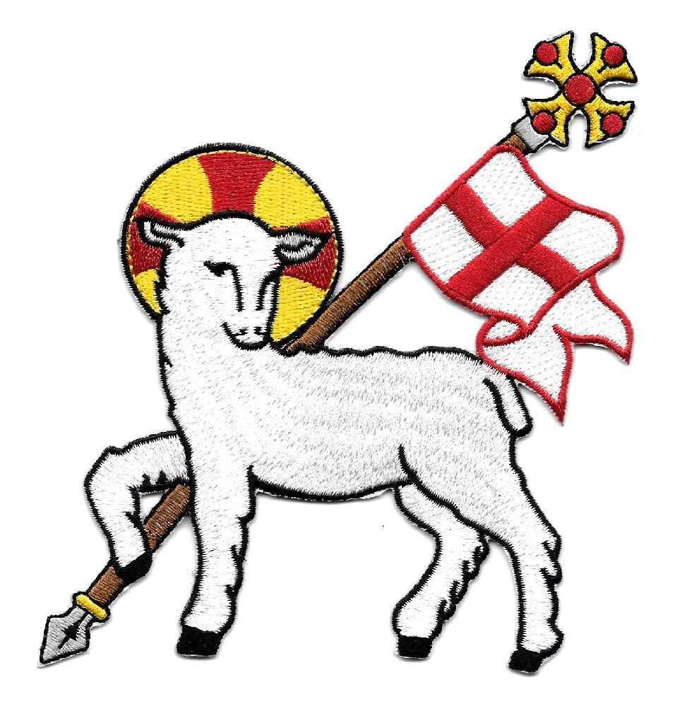 Lamb Of God Agnus Dei Church Vestment Embroidered Iron On Applique Patch Agnus Dei Iron On Applique Christian Biker Patches