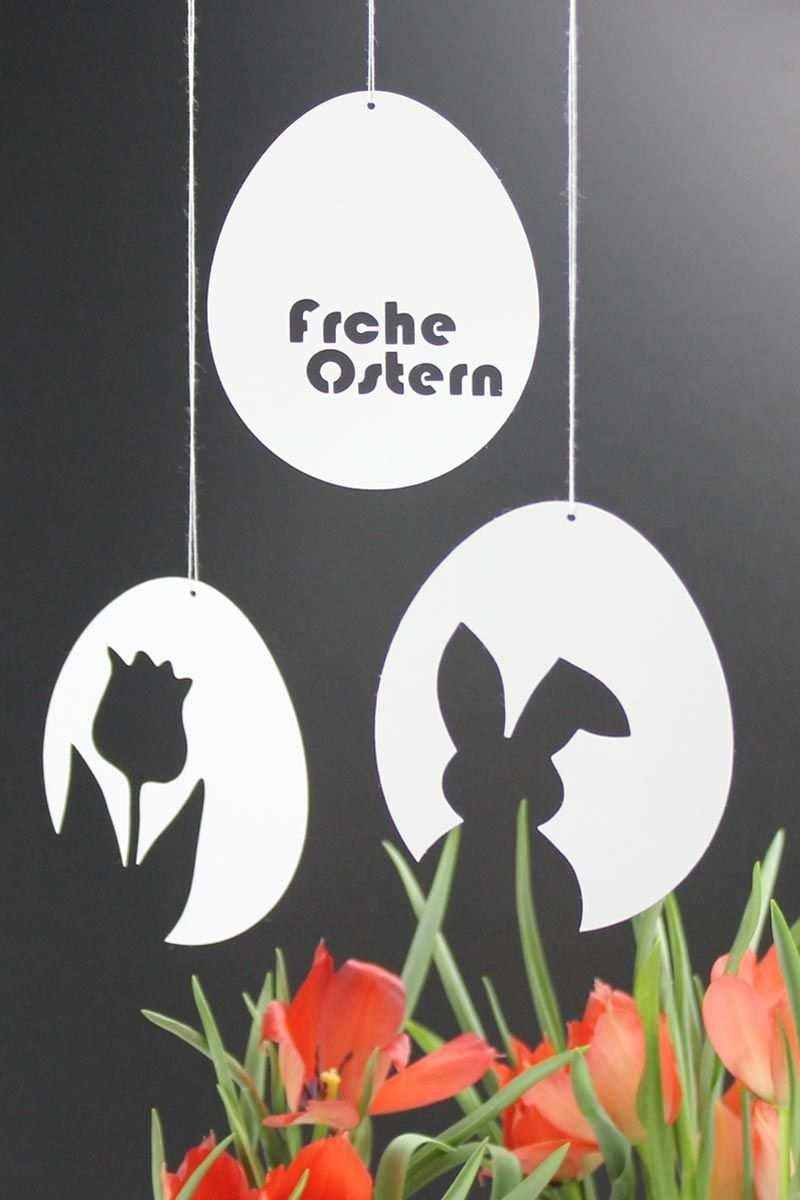 3 Vorlagen Fur Schnelle Schlichte Osterdeko Aus Papier Osterhase Tulpe Frohe Ostern Foto Ostern Basteln Ideen Ostern Osternest Basteln