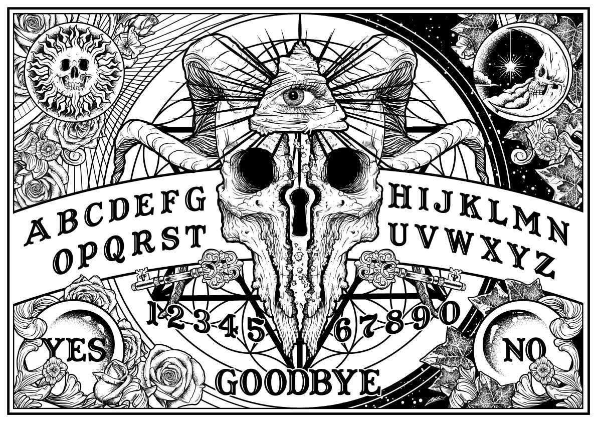 Ouija Board Magische Symbole Coole Kunst Zauber Tattoo