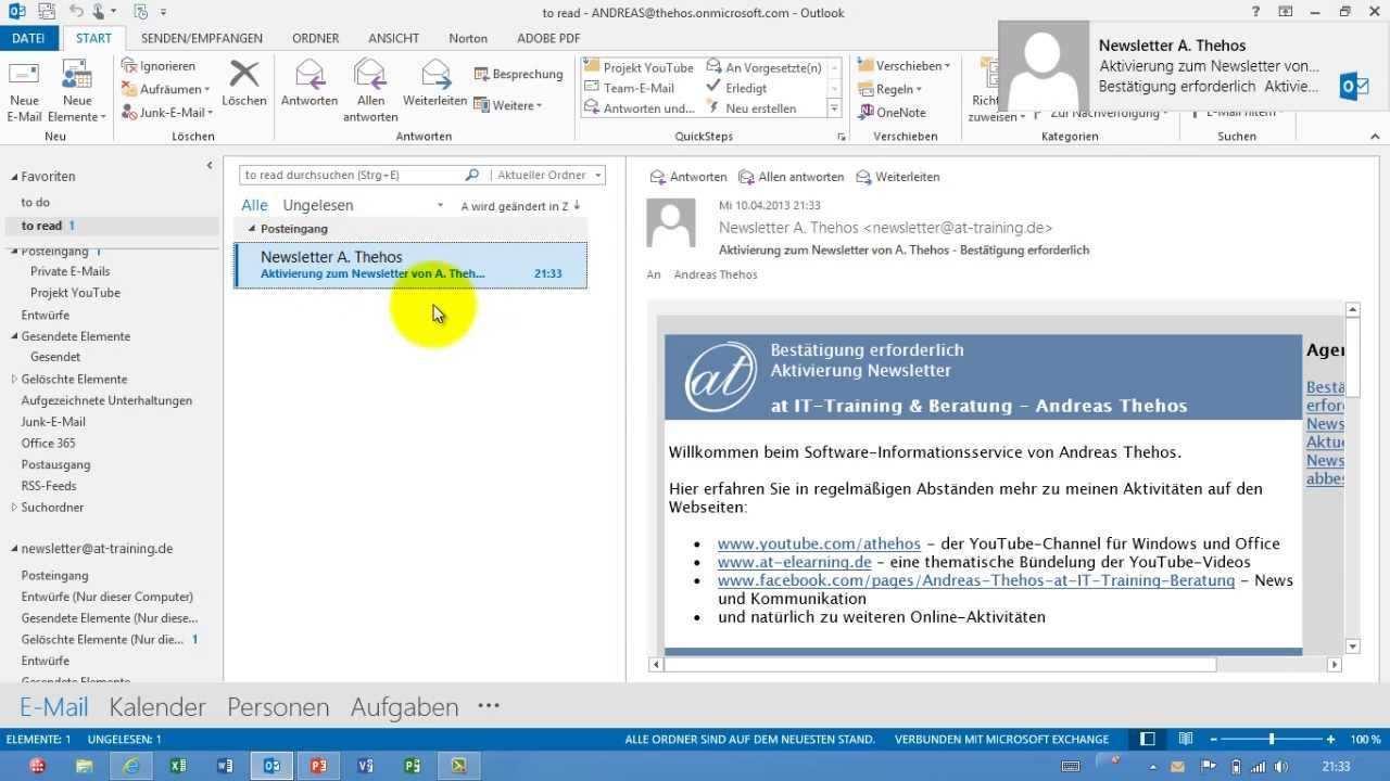 Outlook E Mail Vorlage Erstellen Oft Datei Youtube