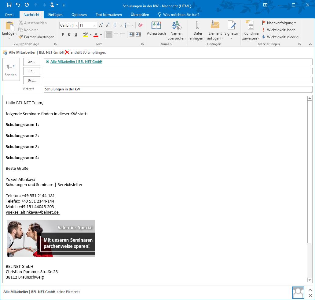 Tipp E Mail Vorlagen In Microsoft Office Outlook Erstellen Bel Net