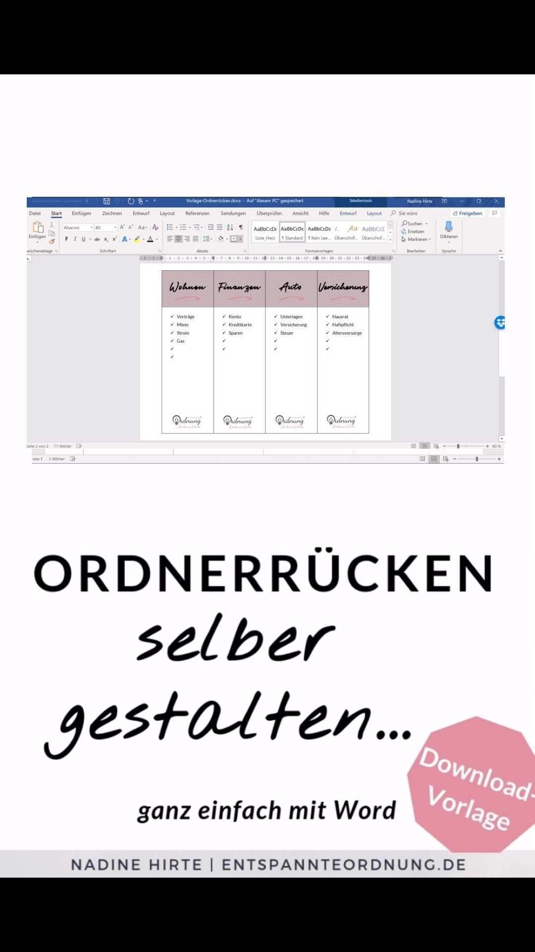 Ordnerrucken Vorlage Zum Selber Gestalten Mit Ms Word In Word Gestalten Ausdrucken Ganz Einfach In Wenigen Sekun In 2020 Words Folder Labels Business Plan Template