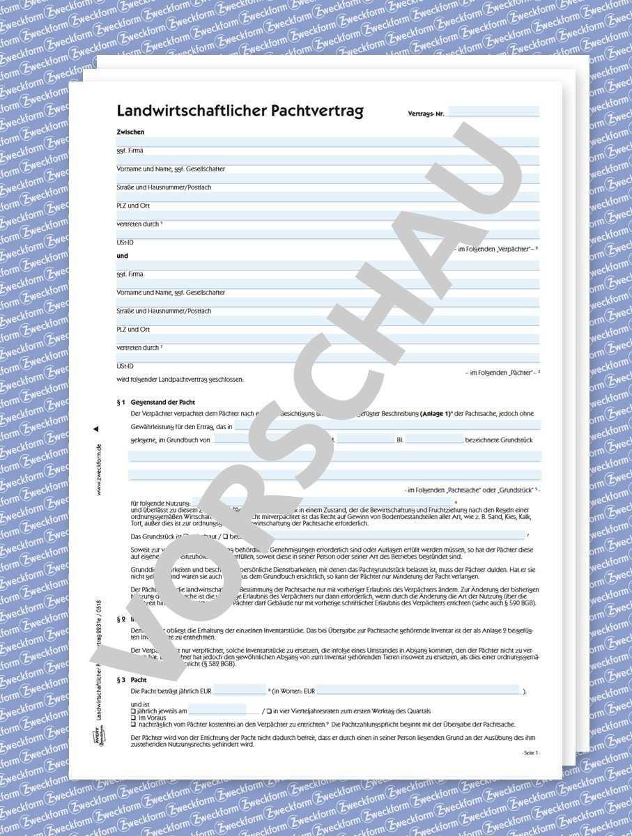 Landwirtschaftlicher Pachtvertrag Formular Download Zweckform