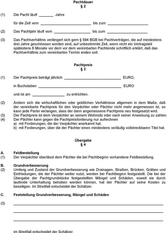 Landpachtvertrag Fur Pachtgrundstucke Pdf Free Download