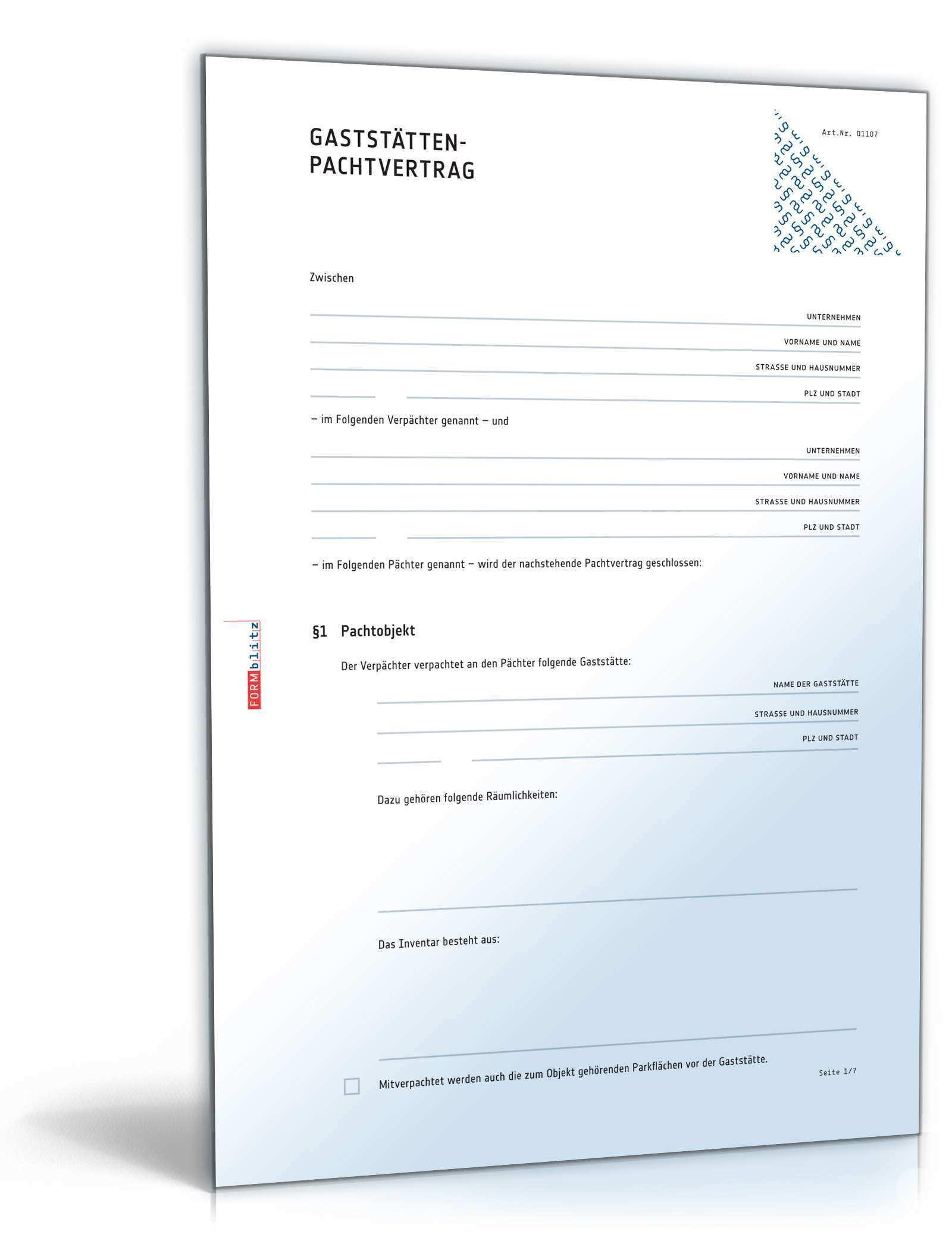 Pachtvertrag Gaststatte Rechtssicheres Muster Zum Download