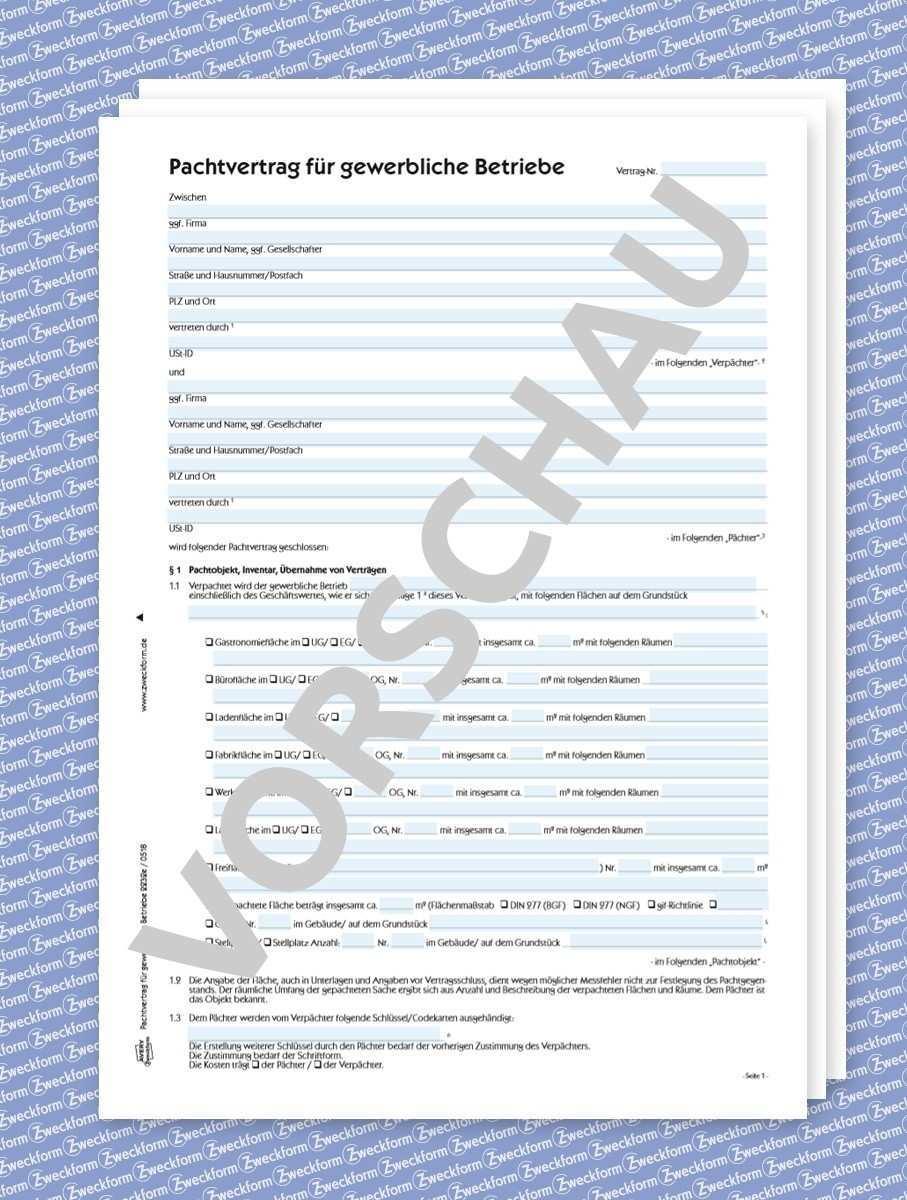 Zweckform Pachtvertrag Fur Gewerbliche Betriebe Formular Download