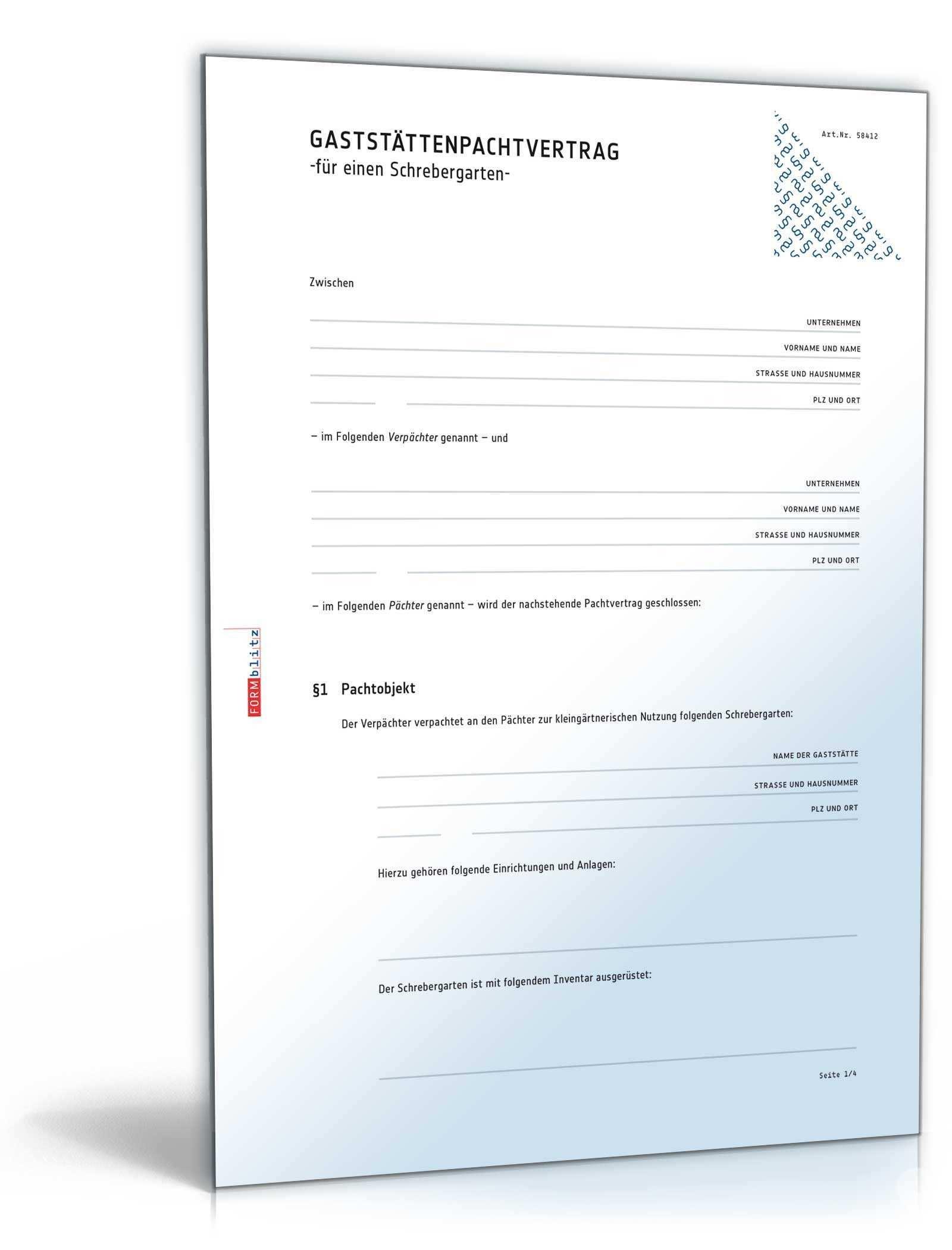 Schrebergarten Pachtvertrag Muster Vorlage Zum Download